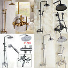 Rainfall Bathroom Shower Faucet Dual Handles Shower Mixer W/ Hand Shower Sprayer