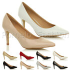 WOMENS LADIES MID HEEL BASIC SMART POINTED PARTY WORK COURT SHOES PUMPS SIZE