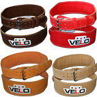 """VELO Weight Lifting 4"""" Suede Leather Back Support Belt Gym Power Strap Training"""
