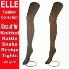 ELLE FASHION 3 PAIR LADIES RATTLE SNAKE DESIGN TIGHTS WITH LYCRA* BROWN & SILVER