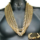 """Hip Hop 6mm~14mm Gold Stainless Steel Miami Cuban Curb 24"""", 30"""" Chain Necklace"""