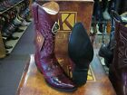 KING EXOTIC BURGUNDY SNIP TOE GENUINE EEL WESTERN COWBOY BOOT 94D20806