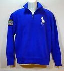 POLO RALPH LAUREN Mens Sweater Half Zip Med Blue French Rib size sz S NEW NWT
