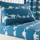 Bluezoo Kids' Blue Dinosaur Print Fitted Sheet And Pillow Case Set