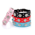 Cute Pet Collars Rows Rhinestone Bling Flower Studded PU Leather Dog Collar