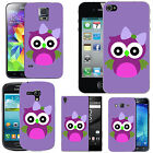 gel case cover for many mobiles - violet purple single bow owl. silicone