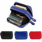 SUPERB RFID BLOCK CREDIT CARD HOLDER WALLET DUAL GENUINE LEATHER ID PURSE CASE