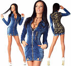 Sexy Womens Denim Army Military Blue Jeans Mini Summer Dress  Double Look H 759