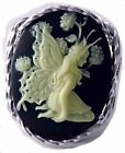 Beautiful Butterfly Fairy Cameo Ring Sterling Silver