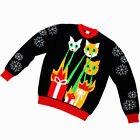 Laser Cat-Zillas, Kids Ugly Christmas Sweater, Black Funny Sweater, FunQi Gifts