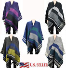 Reversible Oversize Checked Blanket Ruana Wrap Winter Thick Striped Poncho Cape