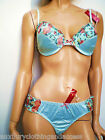 """Princess In Vogue Turquoise Satin Feel Floral Bra Set""""Mix & MatchThong or Brief"""