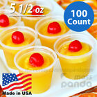 100ct 5 1/2 oz Extra Large Jello Jelly Shot Clear Portion Cups with Lids Option