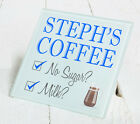 Personalised Coffee Tea Glass or Wooden Gift Coaster - Office Christmas Birthday