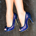 LADIES NAVY BLUE LACE EMBELLISHED HIGH STILETTO HEEL PEEP TOE BOW SHOES 3-8