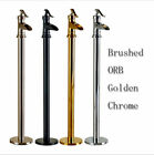 Floor Mounted Free Standing Waterfall Antique Brass Bathtub Mixer Tap Faucet
