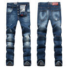 New Mens Italy Style Vintage Washed Oiled Slim Pants Biker JEANS Trousers D1386T