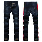 New Mens Italy Style *Distressed Pants *Navy Blue Denim JEANS Trousers D1395T