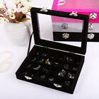 Fashion Jewelry Necklace Ring Case Storage Box 24 Holes Women Earring Organizer