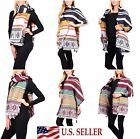 Oversized Thick Knitted Nordic Blanket Scarf Snowflake Striped Winter Wrap Shawl