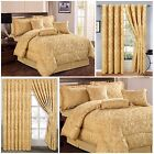 Luxury,7 Piece Quilted Bedspread, (Gold) Comforter Set With Matching Curtains