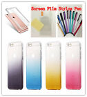TPU Soft Gradient Gel Silicone Case+Screen Film+Stylus Pen For iPhone6/6s 7Plus