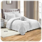 LUXURY EMBROIDERED WHITE QUILTED TC300 BEDSPREAD:COMFORTER SET THROW+PILLOWCASES