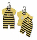 2 Piece Baby Girl Boy Cotton Bee Dungaree Set by Nursery Time