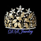 Luxury Clear Swarovski Crystal Rhinestone Flowers Golden/Silver Crown / Tiara