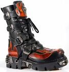 NEWROCK 107-S1 CLASSIC Red Skull Devil Black Leather Boot Biker Goth Rock Boots