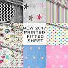 "Cotton Fitted Sheet, Single Bed Size 90cm/190cm/35""/78"" Patterned Kids Girls Boy"