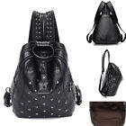 Faux Leather Stud Backpack Rucksack Daypack Travel Casual Purse School Book Bag