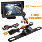 "Car Backup Camera Rear View Parking System Night Vision /4.3"" TFT LCD Monitor US"