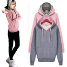Double Layers Women Hoodies Pullover Pocket Casual Tops Sweat Autumn AU