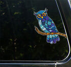 """CLR:CAR - Curious Owl - Stained Glass Style Vinyl Car Decal ©YYDC (5.5""""w x 7""""h)"""
