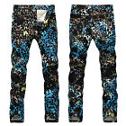 New Mens Italy Style Vintage Butterfly Pattern Printed Slim Black JEANS V310C