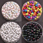50/100PCS Acrylic Mix LETTER Mix Colour Round ALPHABET Charms Loose BEADS 7.5MM