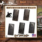 MENS BI-FOLD LONG WALLET~WESTERN DESIGN HAND TOOLED LEATHER~WITH ANTIQUED CONCHO