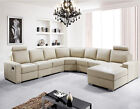 Euro Design Fabric Top Grain Aniline Leather Lounges Chaise Sofa Suite Couches
