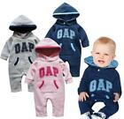 NWT Long Sleeve Hoodie Romper Spring/Fall Jumpsuit Baby Boy Girl Toddler Outfit