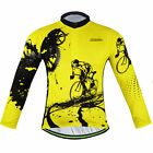Men's Thermal Winter Cycling Jersey Fleece Long Sleeve Cycle Jersey Yellow S-5XL