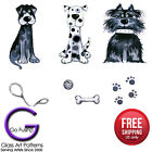 Scruffy Dog Set 2 sizes Glass Fusing Decal Ceramic Winter Waterslide Decal
