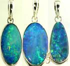 Australian Solid Opal & Sterling Silver Pendant Natural Qld Doublet Necklace