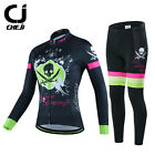 CHEJI Thermal Winter Cycling Jersey Pants Set Womens Fleece Cycling Clothing Kit