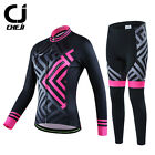 CHEJI Pink Maze Women's Thermal Fleece Cycling Kit Winter Cycle Pants Jersey Set