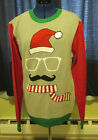Mens Ugly Christmas Sweater Glasses Mustace Santa Face Size M L XL
