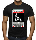 Men's Choking Hazard Warning Sign Black T Shirt Funny College Humor Novelty Tee