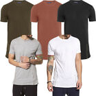 Brave Soul Longline Plain Side Zip T-Shirt  Mens Size