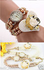 Lux Lovely Heart Flower Pearl Bracelet Double Wrap Wrist Watch Wedding Bridal