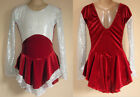 NWT 7y 9y 11y CHILD Red White Ice Skating Dress Majorette Dance Costume Leotard